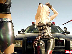 Stevie Shae plowing in a luxurious leather corset