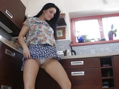 Gal Wedgie Dance in the Kitchen Upskirts