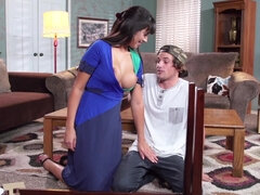 Milf Mercedes Carrera sucks and rides son's buddy