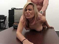 Blonde Mom i`d like to make love loves to make love on couch and table