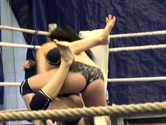 Fierce action in the ring between Aleska Diamond and Lana S.