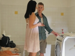 Coco De Mal  seduces cheating dude for a quick fuck in the laundry room