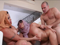 Violet Meyers and her stepmom Julianna Vega teaming up on a bf's big cock