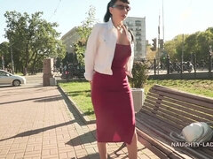 Russian brunette Lada Flashing Outdoors on Bench - Big natural tits