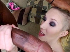 Slim blonde sucks and rides huge bulge of black colleague