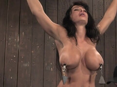 big tits brunette MILF Lisa Ann tortured in BDSM bondage scene