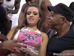 Naughty Ashley Leight Shagged By Four Black Guys