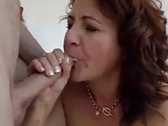 Aroused latina grown-up in white swimsuit bangs immature boy