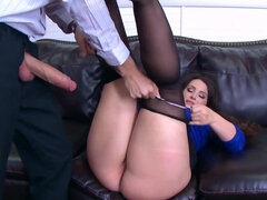 Lascivious secretary stays with naughty boss and gets analyzed