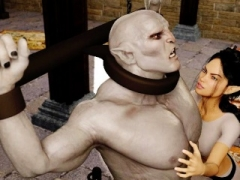 3D Elf Femdom goddess Ruined by Angry Orc!