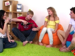 Foursome Procreation On Green Carpet - bella storm