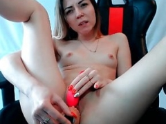 Hot young-looking  dripping wet chick with vibrator is so horny