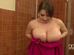 Wet And Clean - Busty Babe Sprinkles Her Big Tits In The Shower