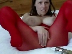 Hoe with milk sacks plays with a huge sextoy