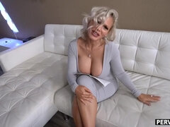 Granny mom with huge tits jerked me when dad was gone