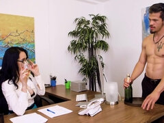 Busty boss Angie Noir has her cunt eaten out & screwed on her office desk