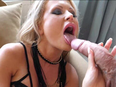 Blonde temptress Joanna Bujoli gets splattered with a thick cumload