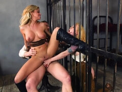 Sheriff's stiff cock plows busty blonde cowgirl in his jail