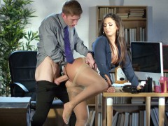 Susy Gala leaned on the desk and got pussy pounded