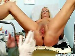 Granny blond Dorota gets her shaggy muff gyno checked