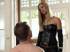leathergloves female dom faceslap her marionette