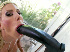 Buxom cougar Puma Swede blows bbc dildo in the shower