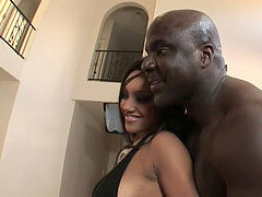 spouse observes bossy latina wife pounding black bald guy