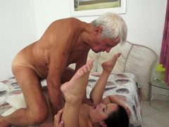 Granddad it actually is really excited is having an intercourse a tight petite whore