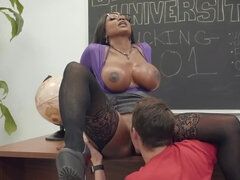 Booty call makes busty black professor do it with student