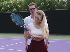 Sweet blonde sucked her tennis teacher's dick