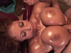 Smoking Hot Mommy with Massive Oiled Up Tits Fucked - hot titjob