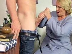 An experienced blond hair granny gets a great screwing