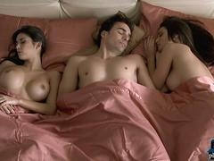 Fella wakes up with two big tits MILF girls in his bed