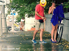 hidden cam takes hold of Jeny Getting Stripped in Public