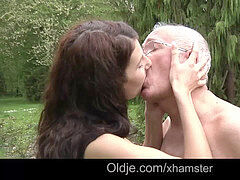 70 old fart sixty-nine with young dark-haired whore