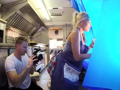 A blonde is in the mobile kitchen, getting fucked really hard