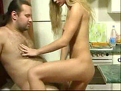 BritishTeen daughter-in-law seduce father in Kitchen for fucky-fucky