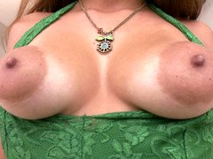 Lady with huge puffy nipples and besides glasses is getting licked