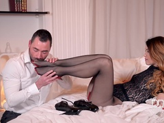 Light Skin vs. Black Shoes - Leg Fetish Boyfriend Enjoys Foot Sucking