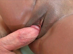 Hot ebony broad Alia gives head a white hard love pole
