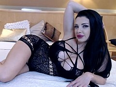 Black-haired online camera girl in hot underwear
