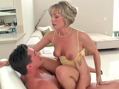 Holly Marie Bryn gives deepthroat and gets rammed on white couch