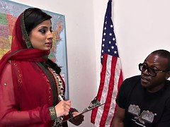 Nadia Ali Learns To Handle Loads of Black Purple poles