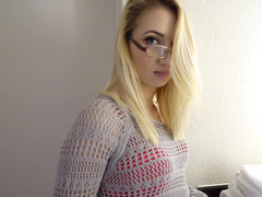 A nerdy gf with glasses opens up her legs to get fucked