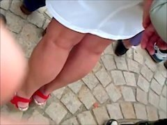 candid blond mom i`d like to fuck sexy legs feet in skirt