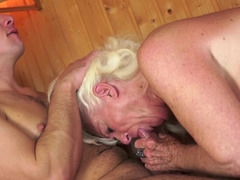 Dirty grown-up blonde is getting fucked hard in the sauna today