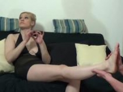 Smoking german female domination mature and slave with foot fetish during first time fetish session