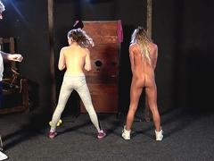 Blonde with milk sacks get some cunt caning