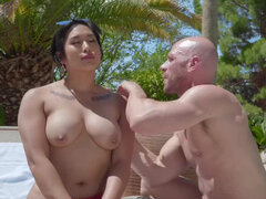 Asian milf Mia Little seduces the hunky poolboy to fuck her poolside