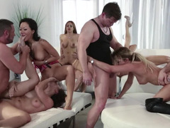A group of people has a really intense orgy in front of the camera